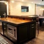 Basement finish custom bar island